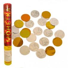 Хлопушка/Пневмо в тубе 30см 8830MS Монетка/золото