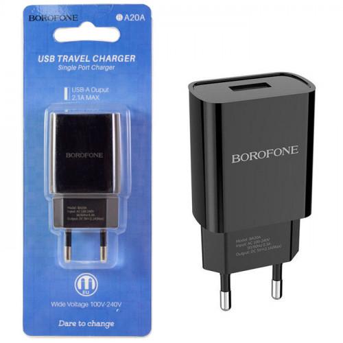 Зарядное устр. BOROFONE BA20A USB /2,1А/чер
