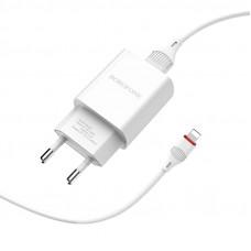 Зарядное устр. BOROFONE BA20A USB+ iPhone/2,1А/бел
