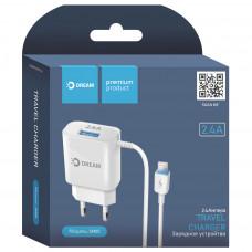 Зарядное устр. DREAM SM05 USB+iPhone 5-8/2.4A/бел