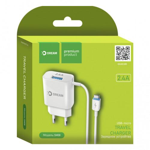 Зарядное устр. DREAM SM08 USB+micro USB/2.4A/бел