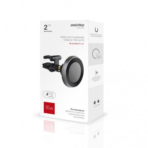 Заряд.устр. беспроводное SmartBuy Magnetic 2.4Aчер
